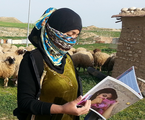 A woman in Northern Iraq reading about the new law against domestic violence including FGM