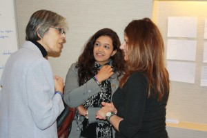 Mawaheb Al Mouhelmy from Egypt discussing with Pavitra Ramasawy from India and Reem Judeh from Hivos